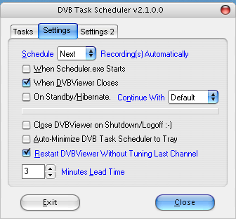 "Register ""settings 1"" der Dvbviewer-Dcheduler-Einstellungen"