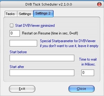 "Registerkarte ""Settings 2"" der Dvbviewer-Scheduler-Einstellungen"