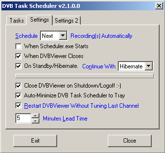 "Registerkarte ""Settings 1"" der dvbviewer-Scheduler-Einstellungen"